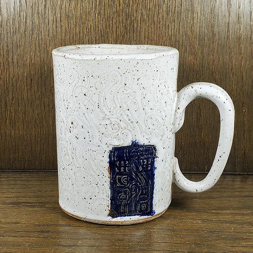 Pre-order Handmade Ceramic 16 oz White Mug with The Tardis / Dr Who