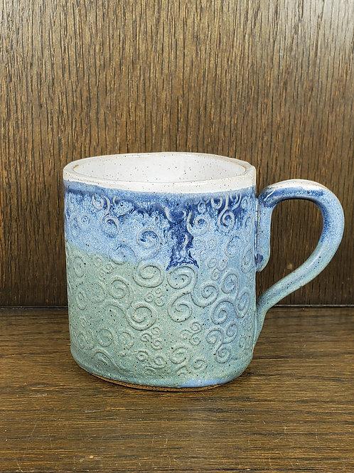 Handmade Blue & White Ceramic Mug with a Swirl Pattern