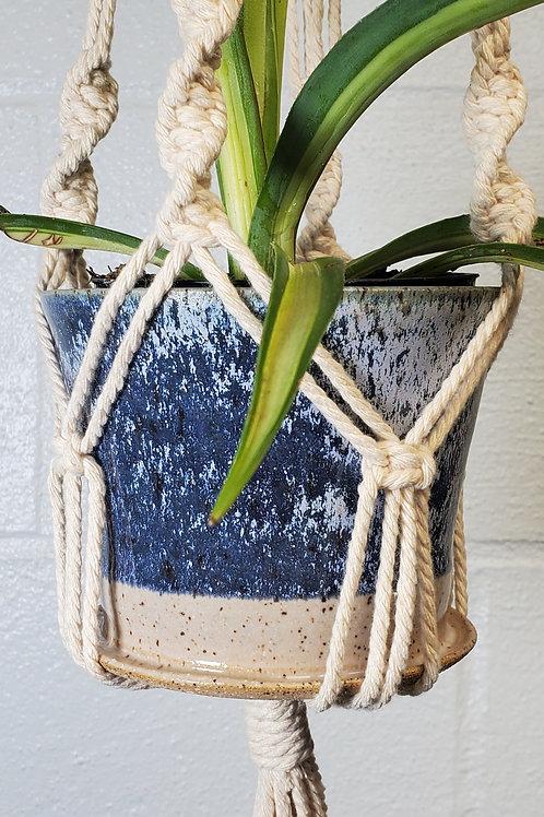 Handmade 4 Inch Navy Blue Frost Ceramic Planter with Handmade Cotton Macram