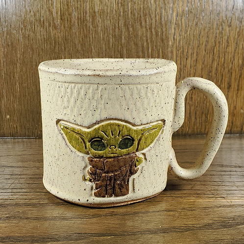 Handmade Ceramic Beige Mug with Baby Yoda