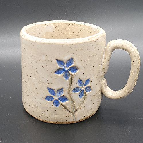 Handmade Ceramic White Mug with Blue Violets
