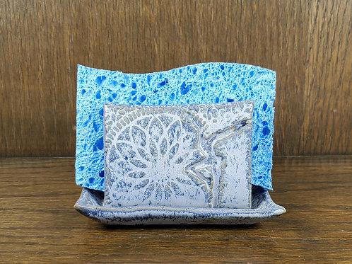 Handmade Ceramic Blue Kitchen Sponge Holder with a DMB Fire Dancer