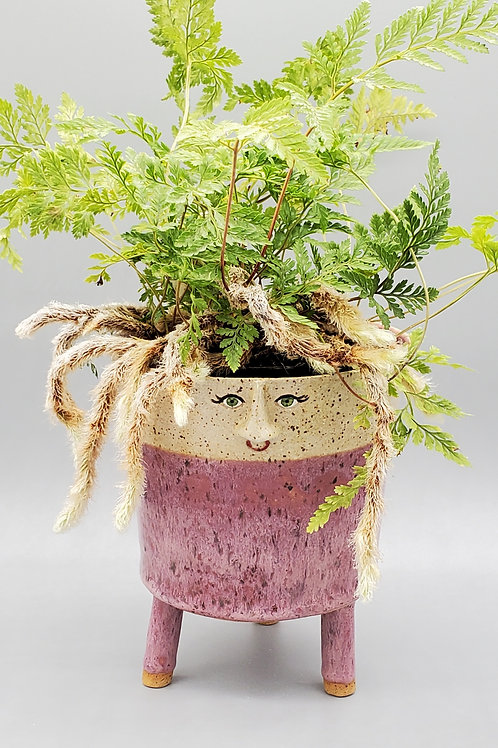 Collette ~ Handmade Ceramic Pink Colored Face Pot with Legs