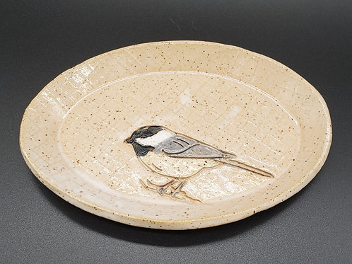 Handmade White Oval Ceramic Trinket Dish with a Chickadee / Jewel