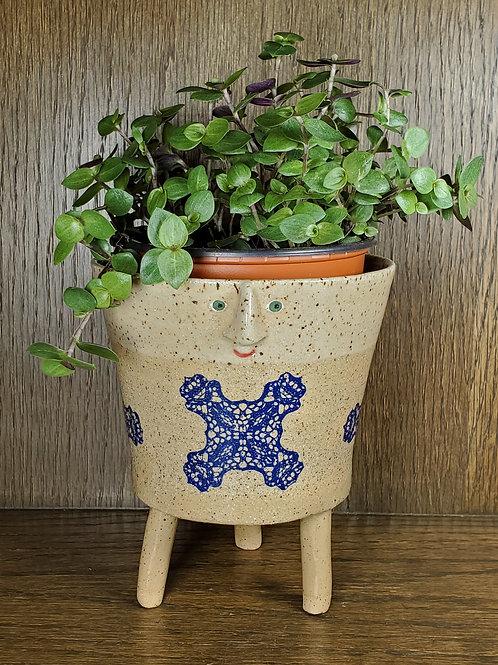 Tori ~ Handmade Ceramic Dark Blue Floral Face Pot with Legs
