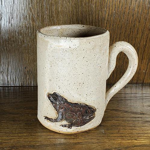 Handmade Ceramic 16 oz Beige Mug with a Dark Red Toad