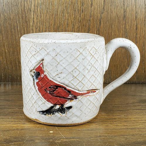 Handmade  Red Cardinal Sitting on a Pattern White Ceramic Mug