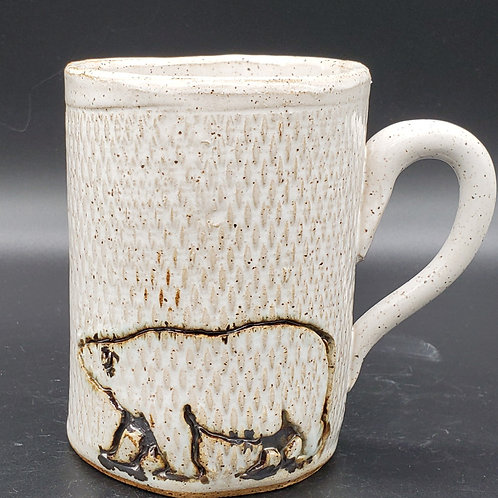 Handmade Ceramic 16 oz White Mug with a Polar Bear
