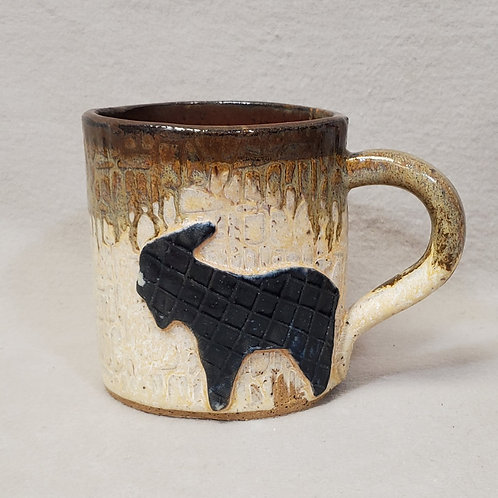 Handmade Ceramic Ivory Mug with a Black Goat