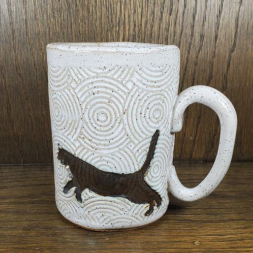 Handmade Ceramic 16 oz White Mug with a Black & Gold Cat