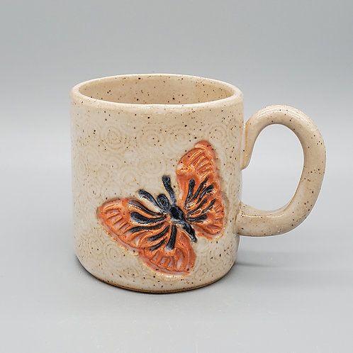 Handmade Ceramic White Mug with a Monarch Butterfly
