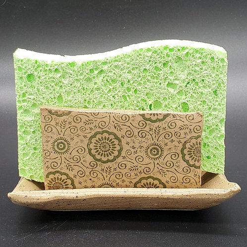 Handmade Ceramic Beige Kitchen Sponge Holder with a Green Floral Pattern