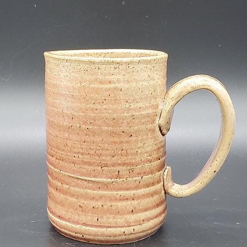 Handmade Ceramic Beige & Rose Rippled Mug