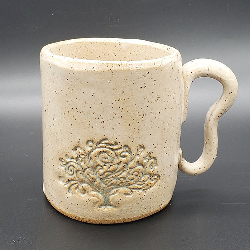 Handmade Ceramic White Mug with a Green Tree of Life