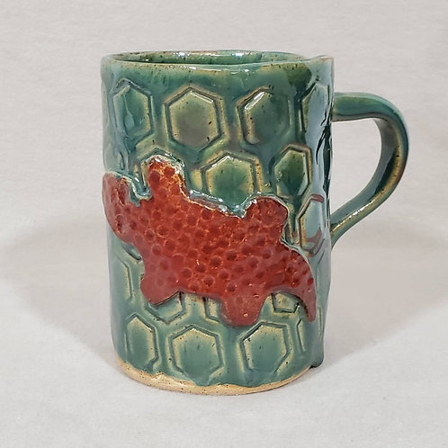 Brown Lizard on a Green Textured Ceramic Mug