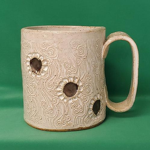 Handmade Ceramic White Mug with Sunflowers