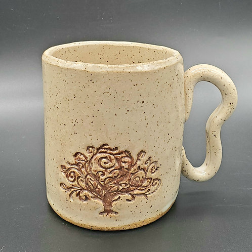 Handmade Ceramic White Mug with a Brown Tree of Life