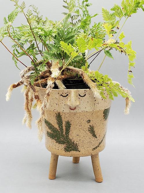 Liam ~ Handmade Ceramic Evergreen Pattern Face Pot with Legs