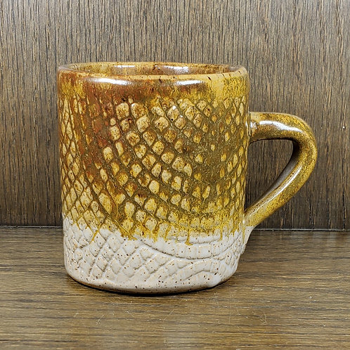 Handmade Ceramic Amber Patterned Mug