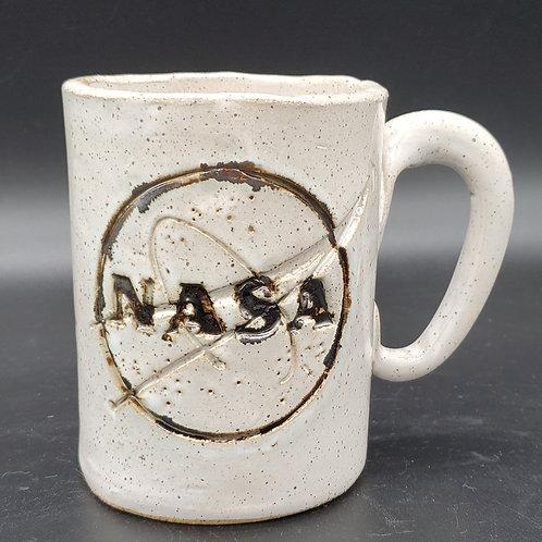 Handmade Ceramic White  Mug with NASA Logo