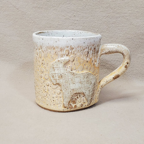 Handmade Ceramic Ivory Mug with a White Goat