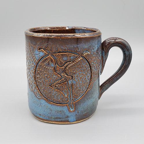 Handmade Blue Ceramic Mug with a  Fire Dancer / DMB Mem