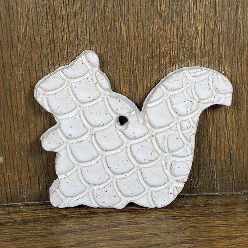 Handmade Ceramic White Squirrel Ornament
