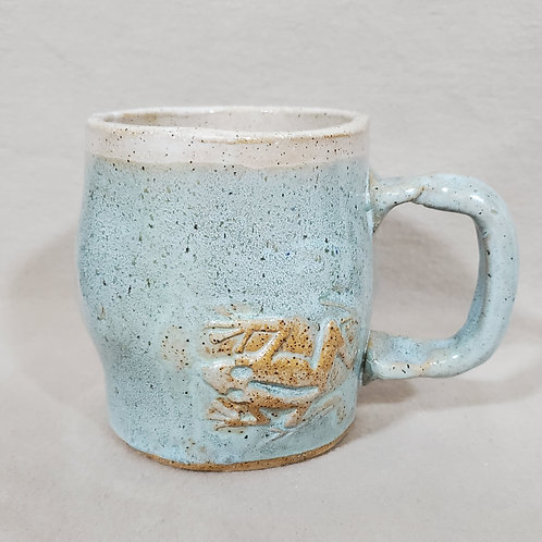 Handmade Ceramic Blue Mug with a Brown Frog
