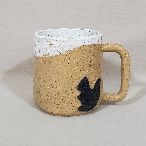 Handmade Black Squirrel on a Beige Glazed Ceramic Mug