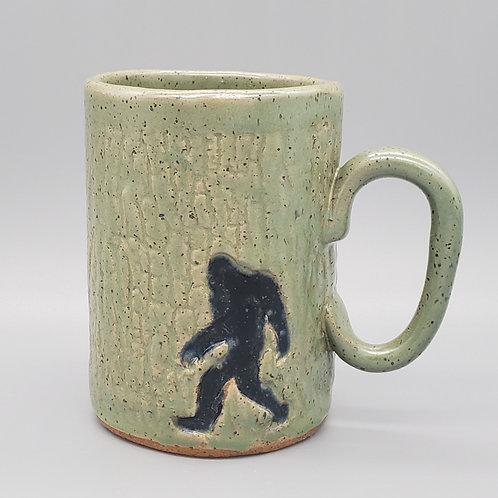 Handmade Ceramic 16 oz  Green Mug with a Bigfoot / Sasquatch