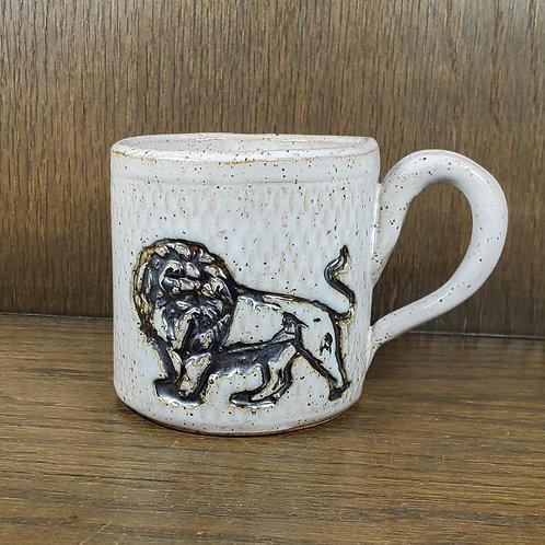Handmade Ceramic White Mug with a Lion