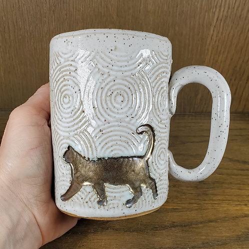 Handmade Ceramic White 16 oz Mug with a Gold Cat