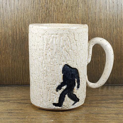 Handmade Ceramic 16 oz  White Mug with a Bigfoot / Sasquatch