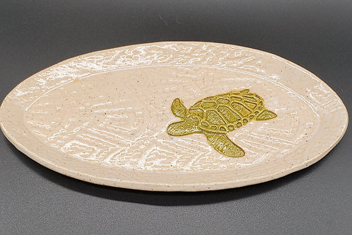 Handmade White Oval Ceramic Serving Tray with a Green Sea Turtle / Olive Tray /