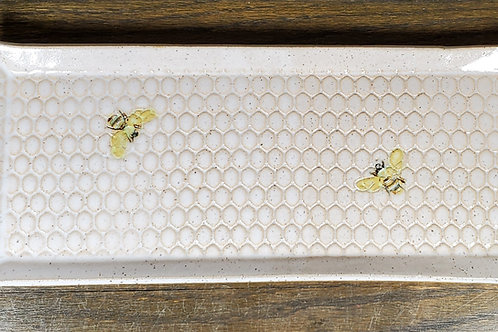 Handmade White Ceramic  Serving Tray with Bees / Olive Tray / Cracker Dish
