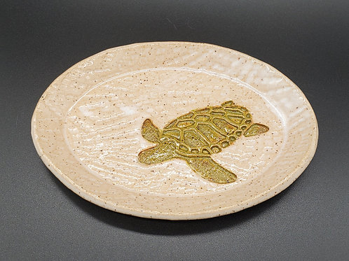 Handmade White Oval Ceramic Trinket Dish with a Green Sea Turtle / Jewelry Tray