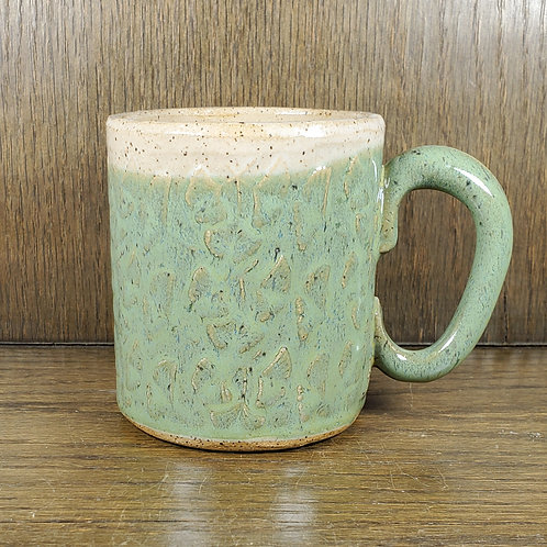 Handmade Ceramic Green & White Mug with Ginko Leaves