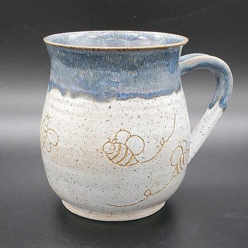 Handmade Ceramic Blue & White Mug with Honey Bees