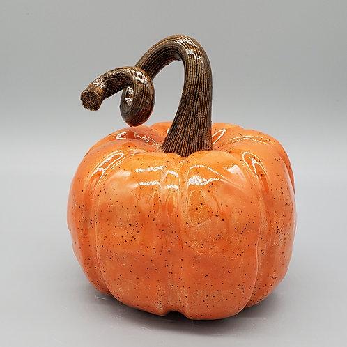 Handmade Ceramic Bright Orange Pumpkin