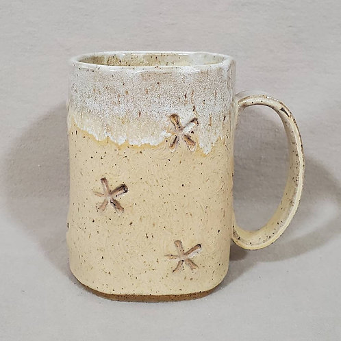 Square Shaped Handmade Beige Ceramic Mug with Starfish