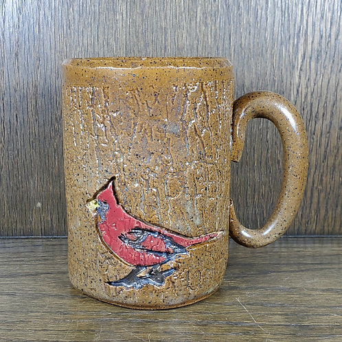 Handmade 16 oz Red Cardinal Sitting on a Wood Pattern Brown Ceramic Mug