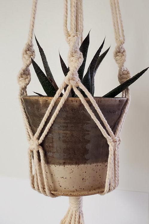 Handmade 4 Inch Gray & Beige Ceramic Planter with Handmade Cotton Macrame Hanger