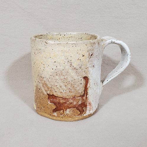 Handmade Cat Walking in the Snow on a White Ceramic Mug