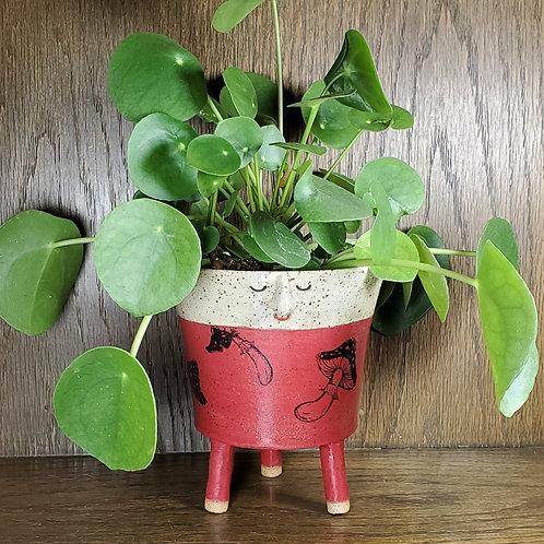 Handmade Ceramic Red Mushroom Face Pot with Legs