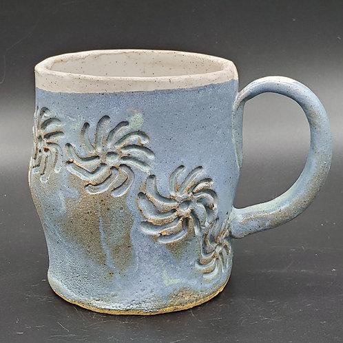 Handmade Ceramic Blue & White Mug with a Floral Print