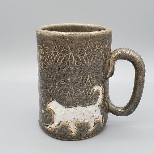 Handmade Metallic Gray Ceramic 16 oz Mug with a White Cat