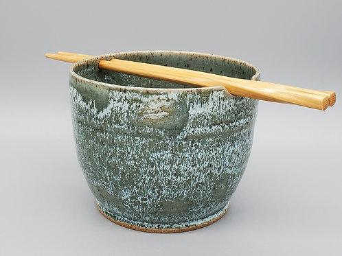 Handmade Green Frost Ceramic Ramen / Rice / Noodle Bowl
