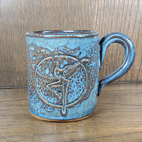 Handmade Blue Ceramic Mug with a Fire Dancer / DMB Mem