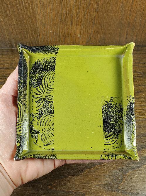 Handmade Green & Black Square Ceramic Serving Tray / Cheese Tray / Dessert Dish