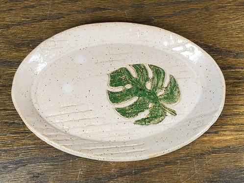 Handmade White Oval Ceramic Trinket Dish with a Monstera Leaf / Jewel